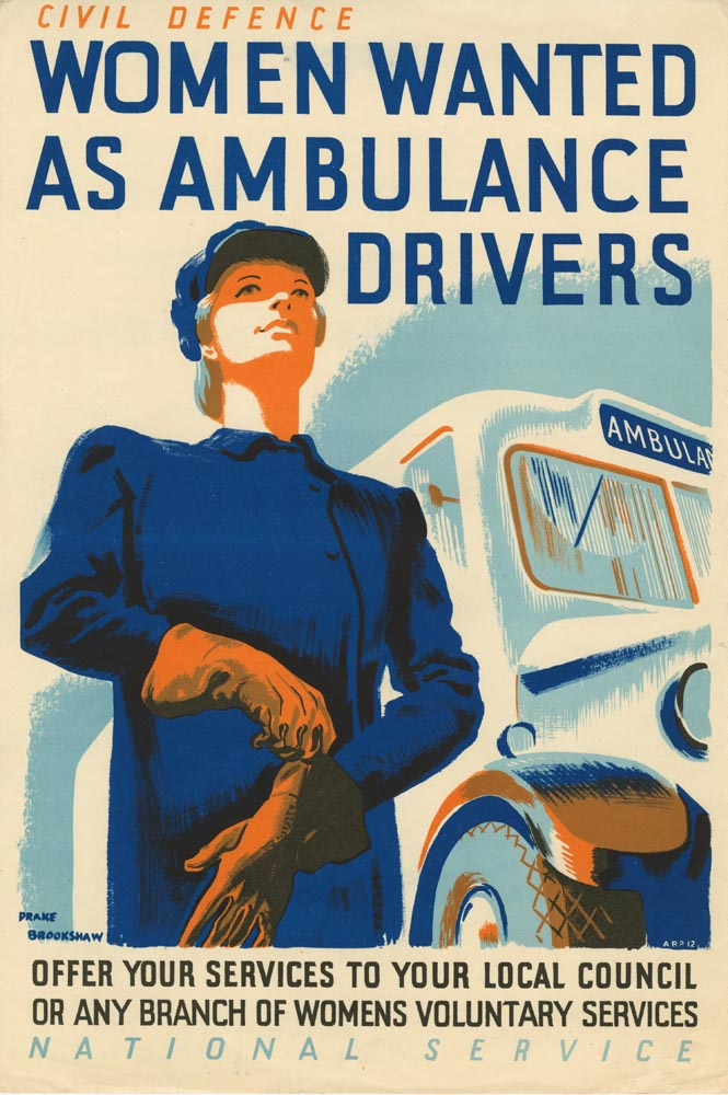 WW2 Poster - Civil Defence Women Wanted As Ambulance Drivers