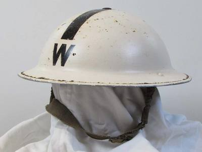 White ARP Warden's helmet with black 'W' and single black stripe