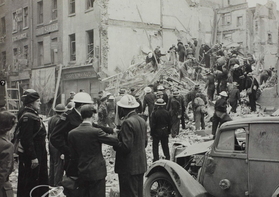 Aldersgate Street, London Following a V1 Flying Bomb Incident 1944.