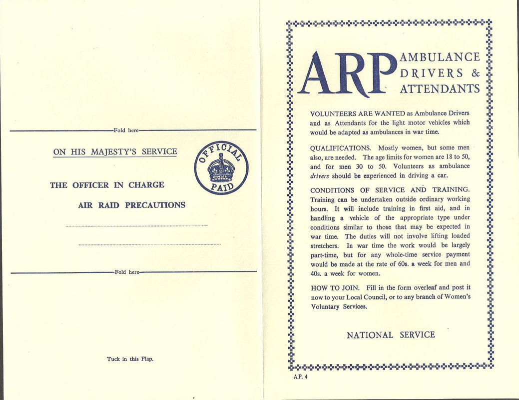 WW2 Civil Defence Application Form For ARP Ambulance Drivers.
