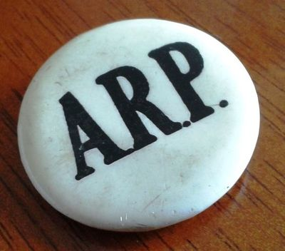 Celluloid A.R.P. Pin Button Badge.