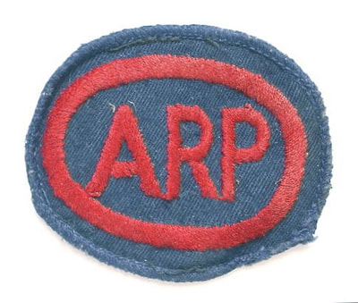 Embroidered Oval ARP Breast Badge on bluette material (Blacked Out Britain)