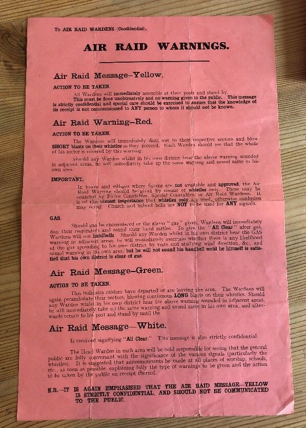 WW2 Air Raid Warning and Message Colours - Yellow, Red, Green & White