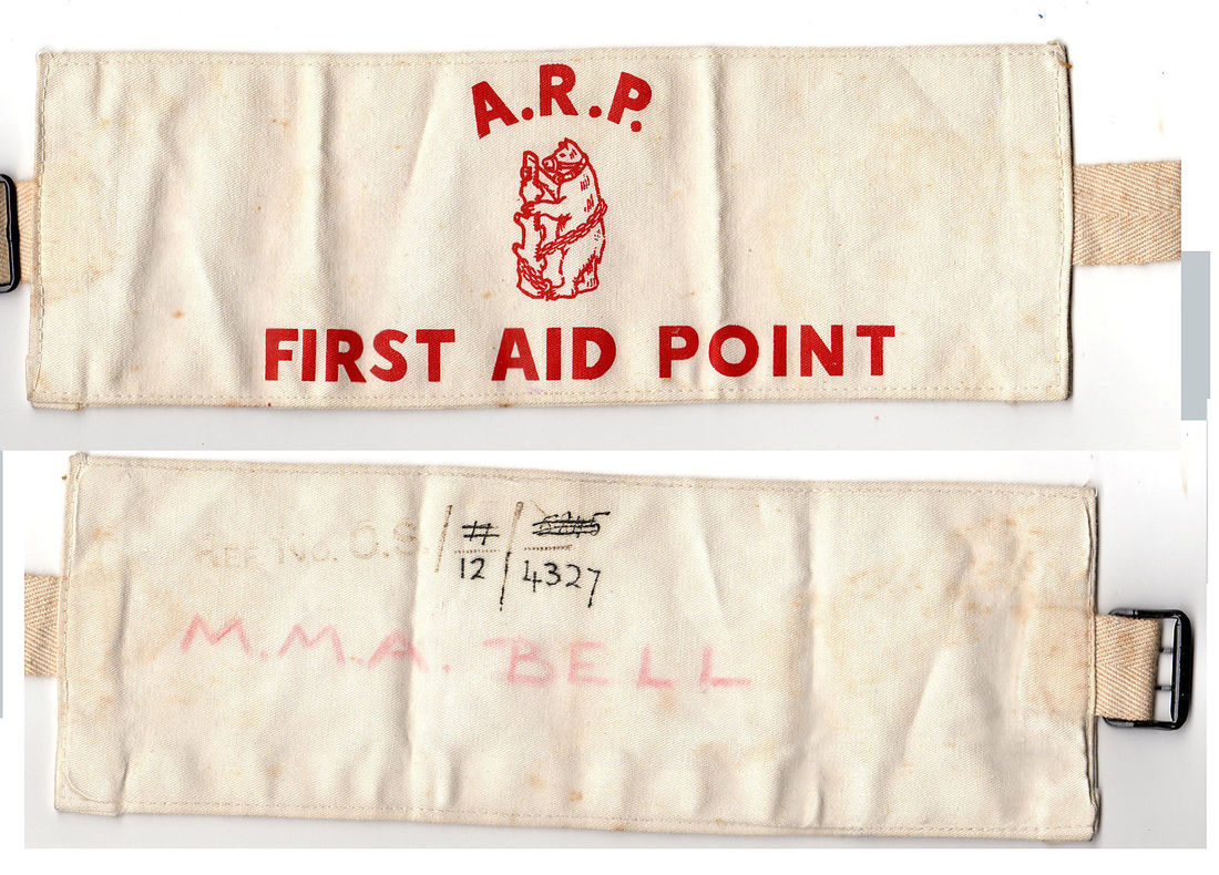 WW2 Warwickshire Civil Defence ARP First Aid Point Armband