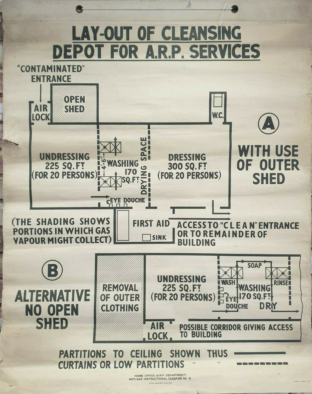 WW2 Layout Of Cleansing Depot For ARP Services Poster