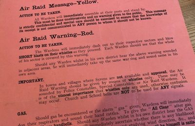 Air Raid Message Yellow and Air Raid Warning Red
