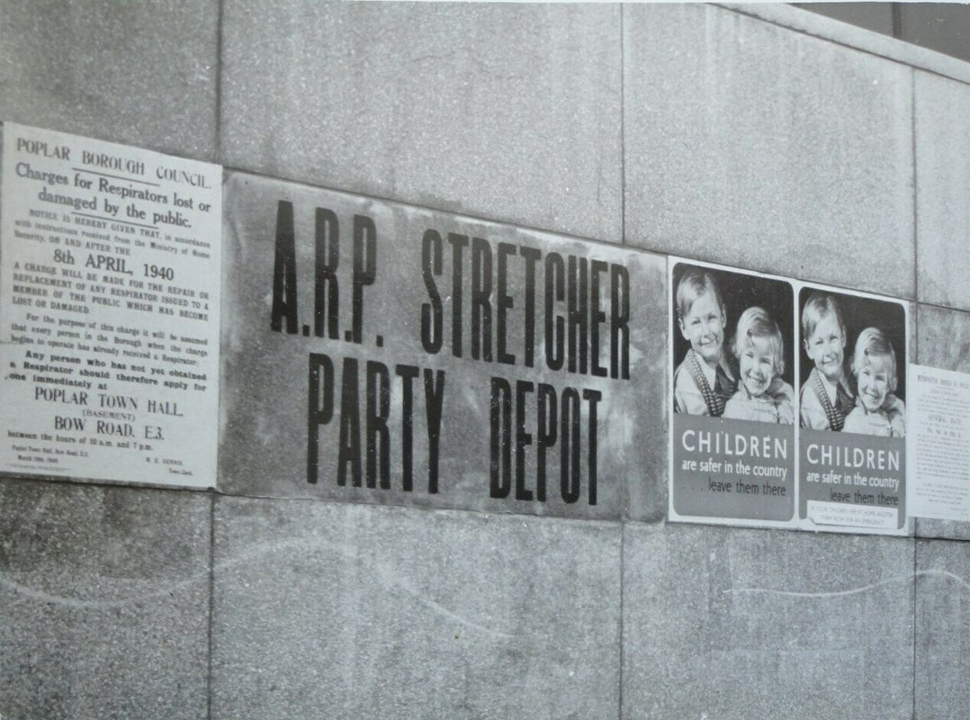 ARP Stretcher Party Depot, Poplar Town Hall, Bow Road, May 1940