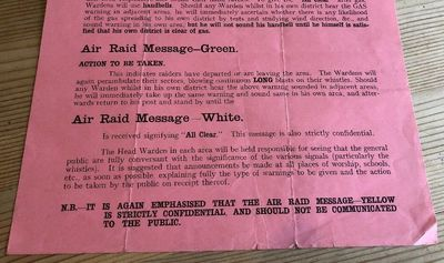 Air Raid Messages Green and White