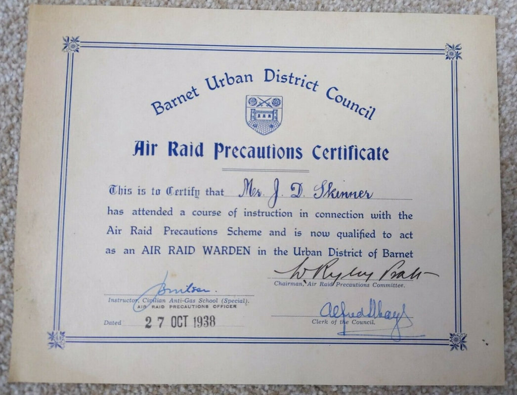 Barnet Air Raid Warden examination pass certificate October 1938