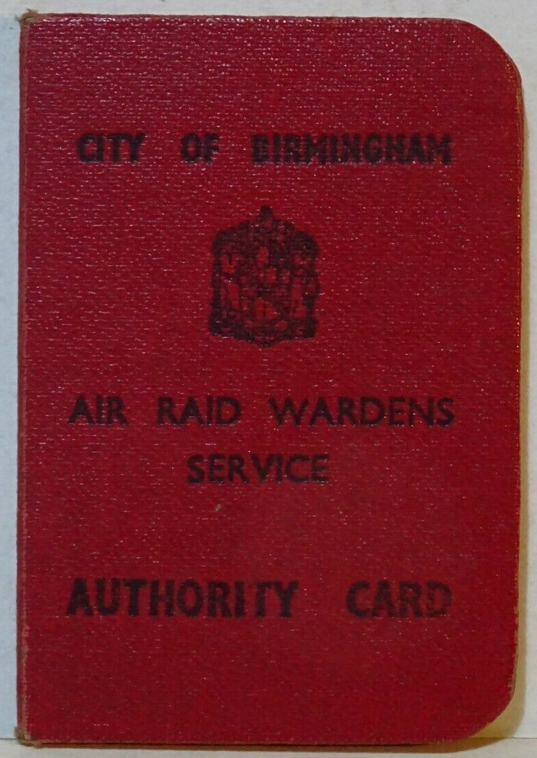 WW2 Air Raid Warden Authority Card Of Lady Deputy Group Warden