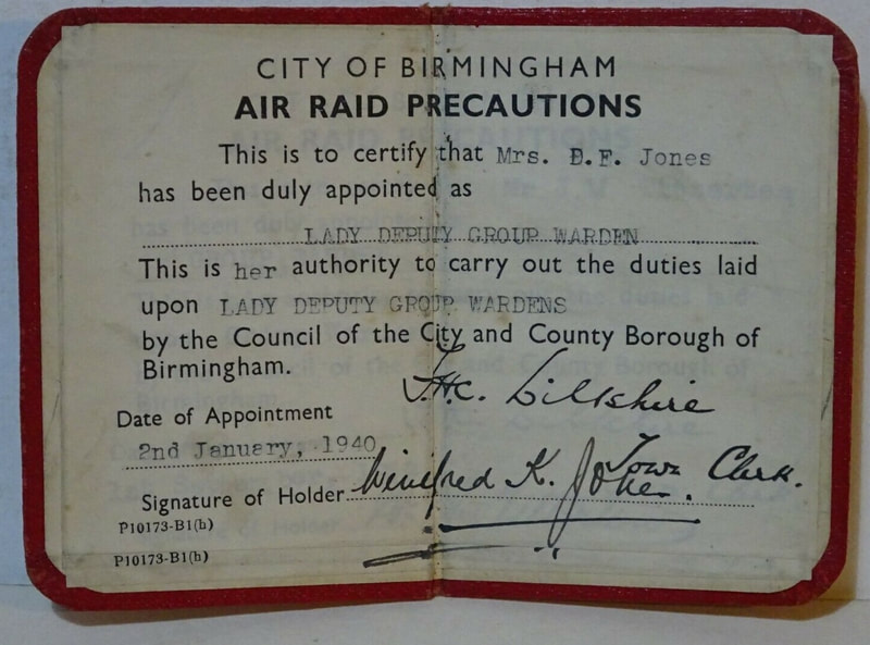 WW2 Air Raid Warden Authority Card Of Lady Deputy Group Warden Details