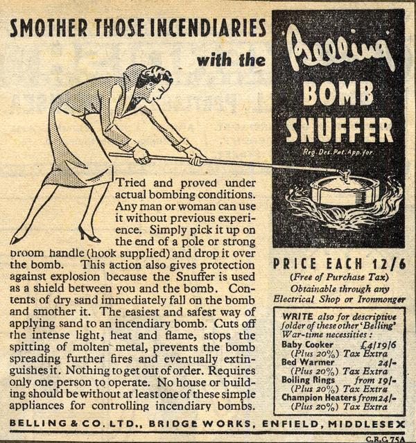 Advert for the Belling Bomb Snuffer