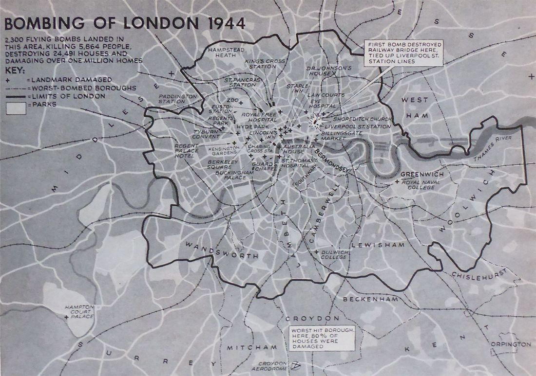 Map of London showing the locations of the worst casualties suffered by V1 flying bomb incidents.