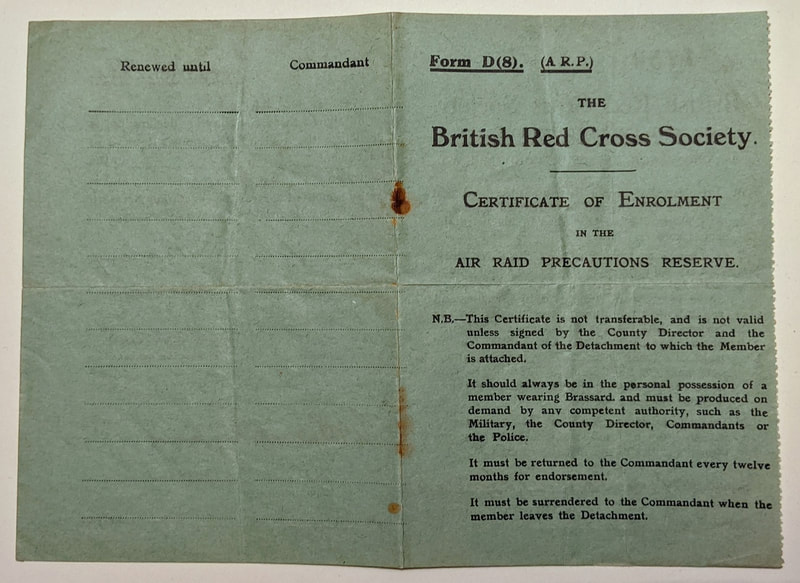 British Red Cross Society Certificate of Enrolment cover