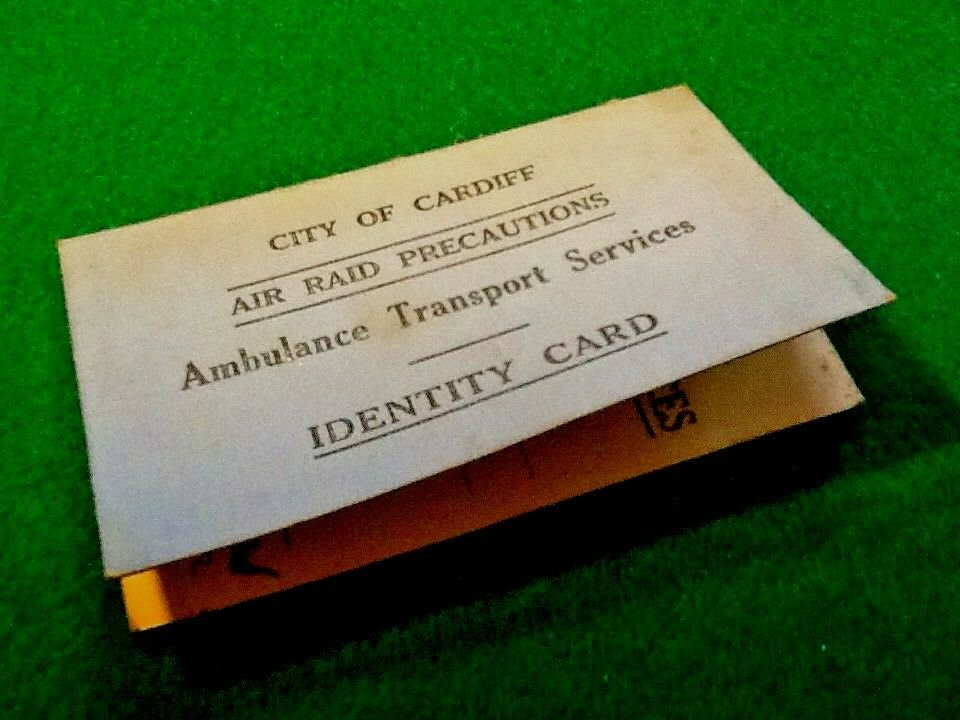 WW2 City Of Cardiff ARP Ambulance Transport Services ID Card (cover)
