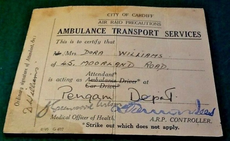 WW2 City Of Cardiff ARP Ambulance Transport Services ID Card (details)