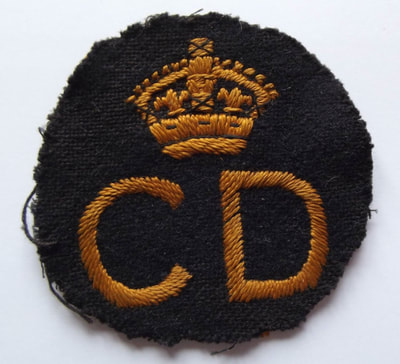 Locally produced WW2 Civil Defence 'CD' Breast Badge (front).