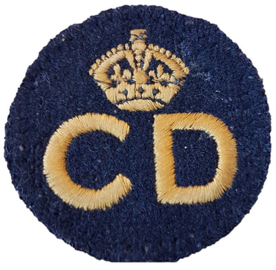 Standard pattern WW2 Civil Defence 'CD' Breast Badge (front).