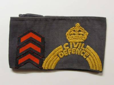 WW2 Civil Defence ARP Pattern 54 Armband (Woven with Service Chevrons)