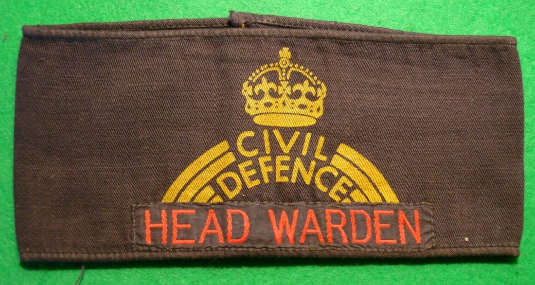 WW2 Civil Defence Armband With Addition Of Head Warden