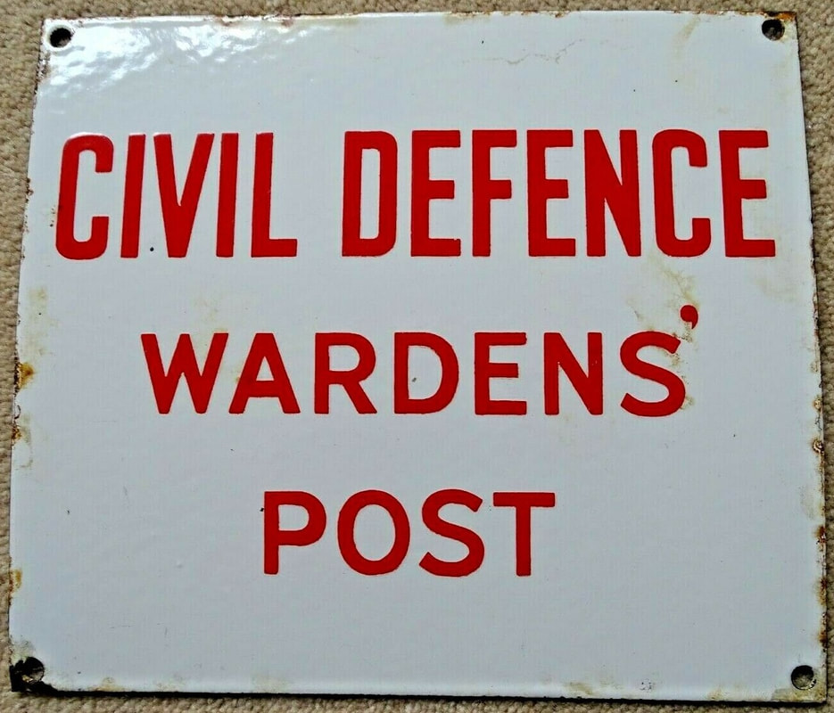 Civil Defence Wardens' Post Enamel Sign