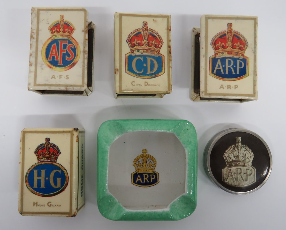 WW2 ARP, CD, HG & AFS Celluloid Matchbox Covers, ARP Ashtray & Compact
