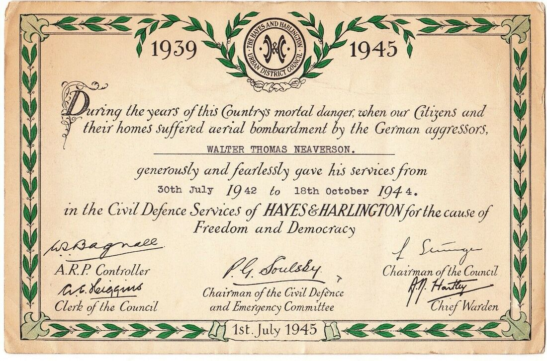 WW2 Civil Defence Service Certificate, Middlesex