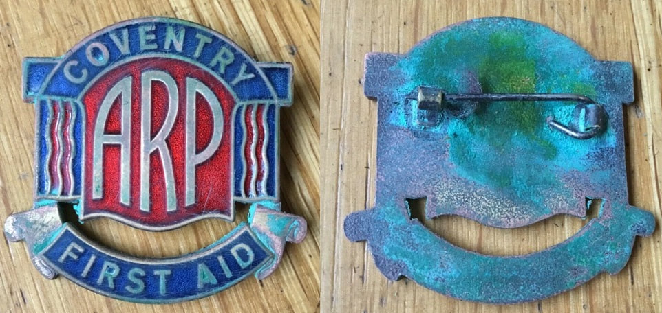 Fake WW2 Coventry First Aid ARP enamel badge