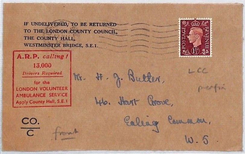 Pre-War ARP Recruitment Stamp On A Letter.