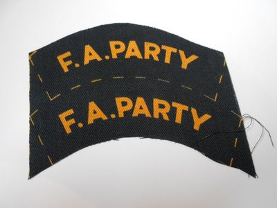 WW2 Civil Defence F.A. Party Shoulder Title (Printed)