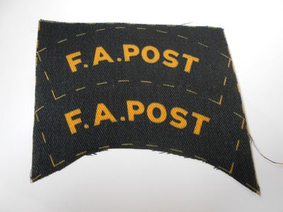 WW2 Civil Defence F.A. Post Shoulder Title (Printed)