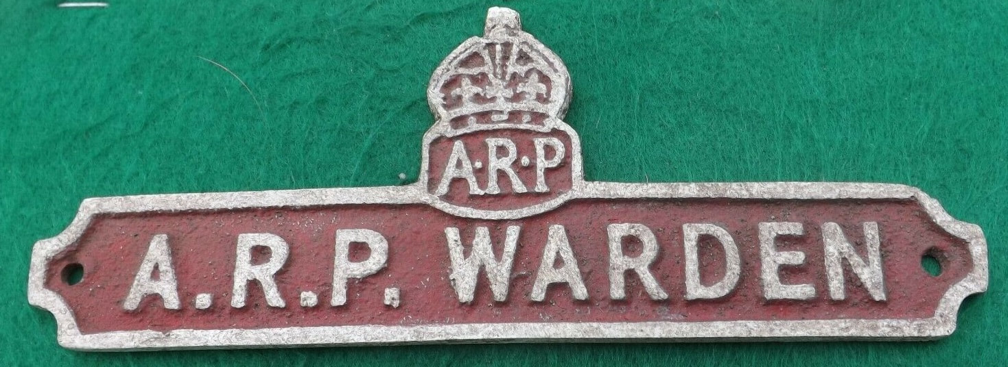 Fake WW2 double ARP Warden plaque wall sign