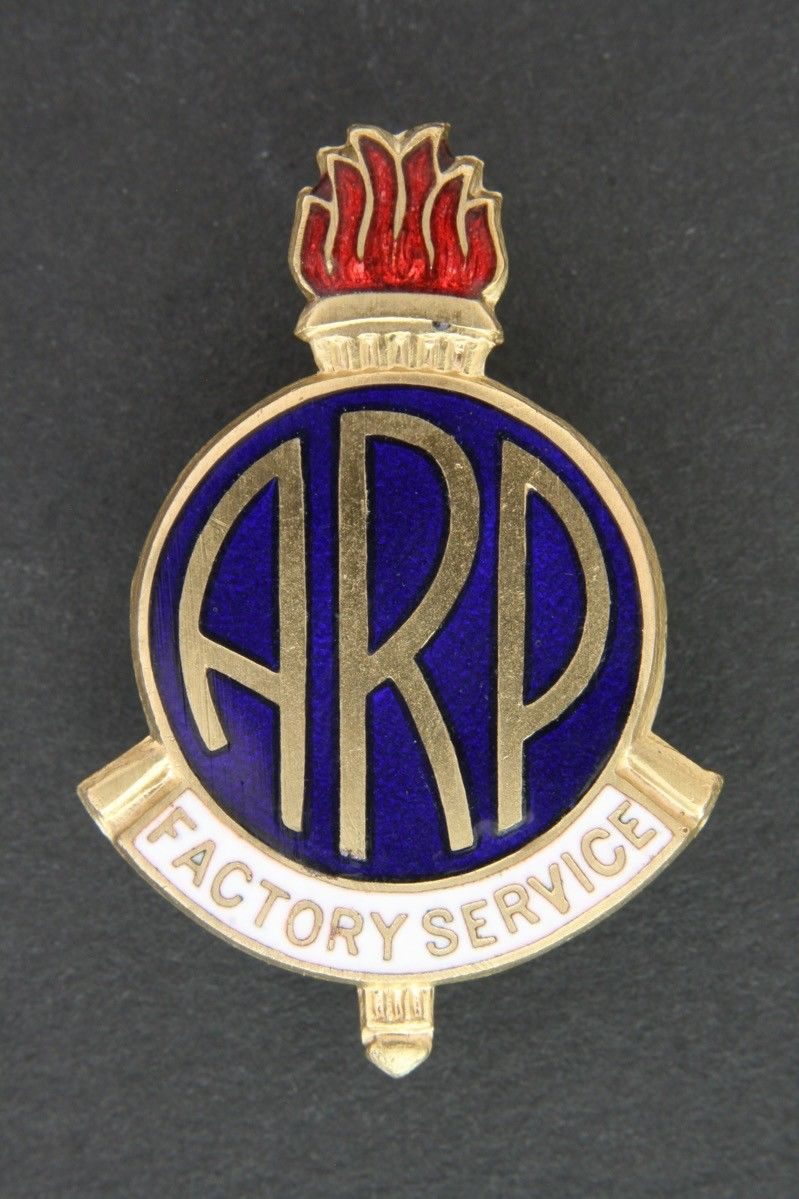 WW2 ARP Factory Service Lapel Badge
