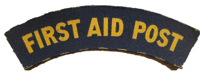 WW2 Civil Defence Printed First Aid Post Shoulder Title