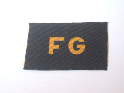 Printed FG (Fire Guard) insignia often worn below the Warden shoulder titles.