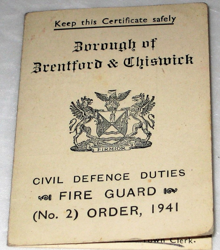 WW2 Brentford & Chiswick Fire Guard Card (cover)