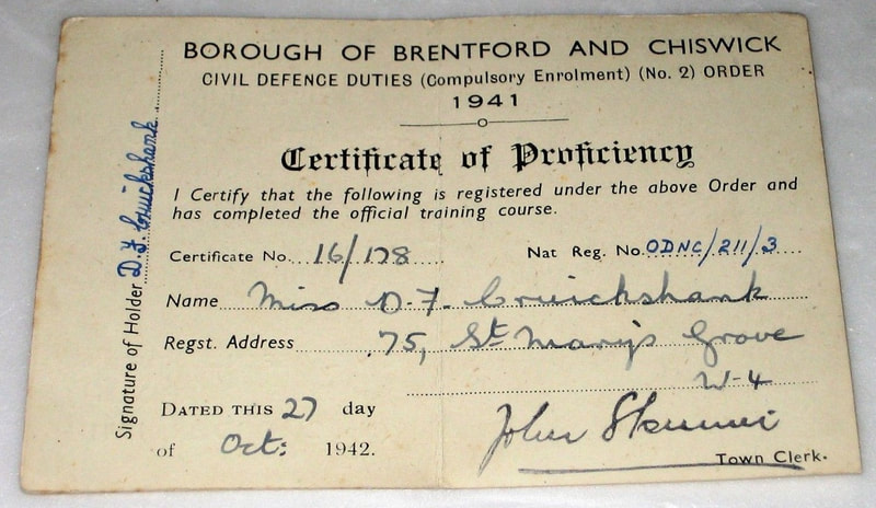 WW2 Brentford & Chiswick Fire Guard Card (inside)