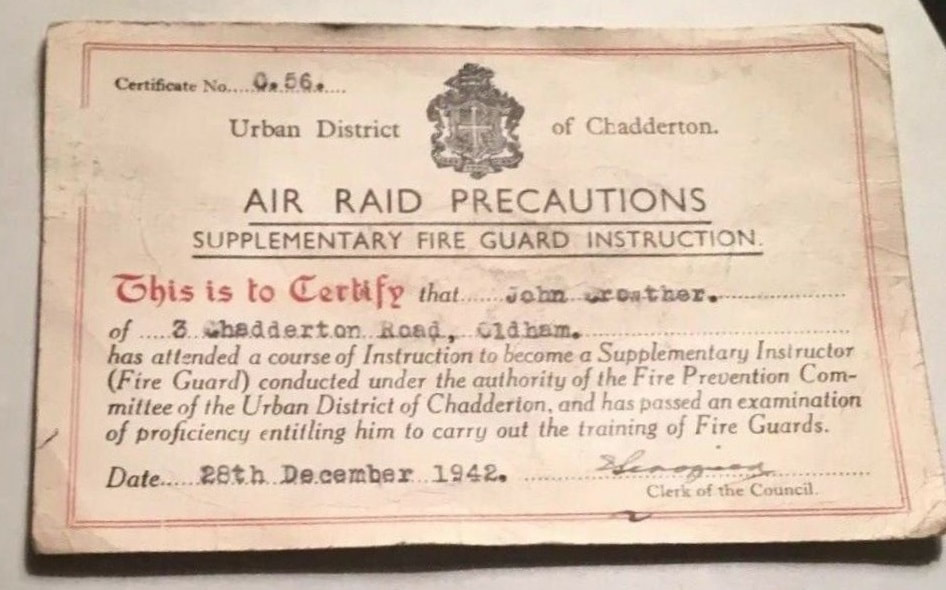 WW2 ARP Supplementary Fire Guard Instruction ID Certificate
