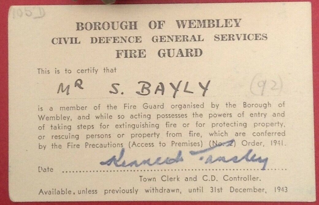 WW2 Borough Of Wembley Fire Guard Appointment Card