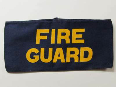 Fire Guard armband - yellow lettering on dark blue cotton.