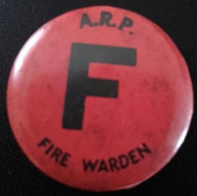 Celluloid A.R.P. Fire Warden Pin Button Badge.