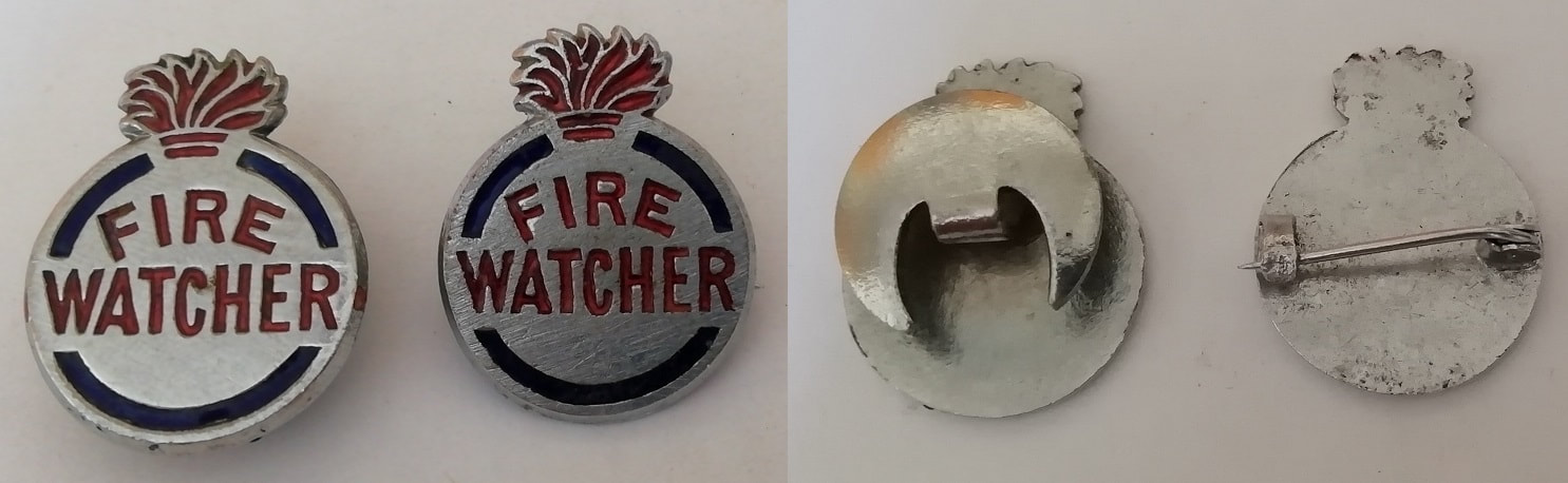 WW2 Fire Watcher Badges - Half-Moon & Pin Fitting