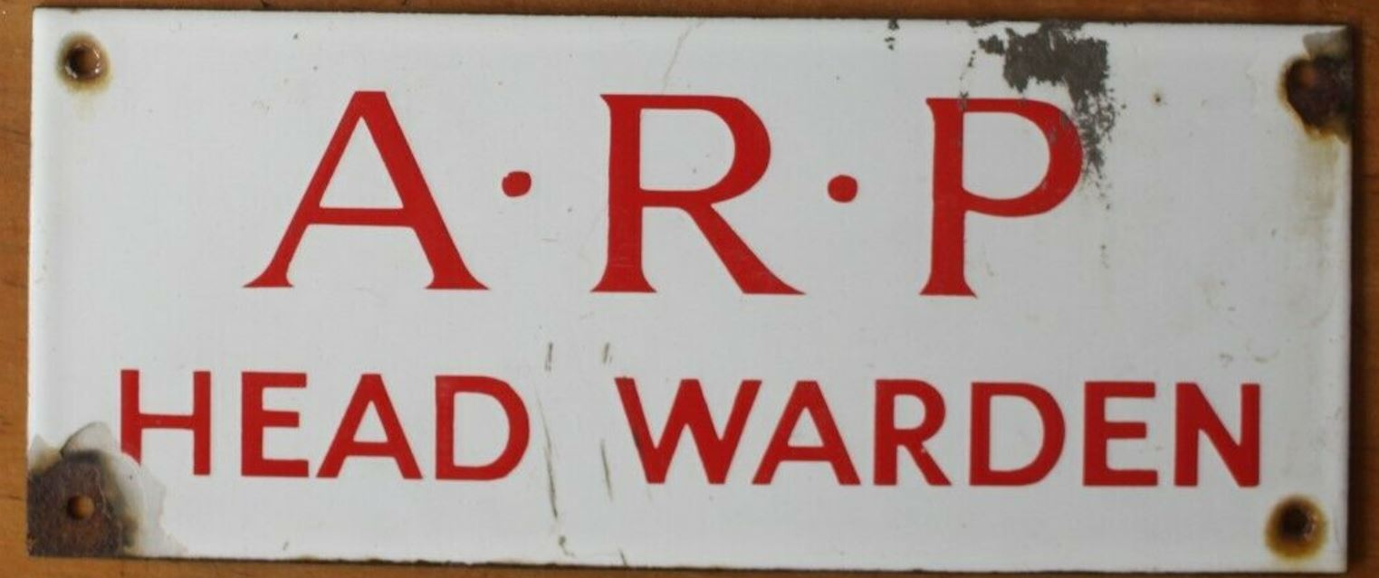 WW2 ARP Head Warden Enamel Sign