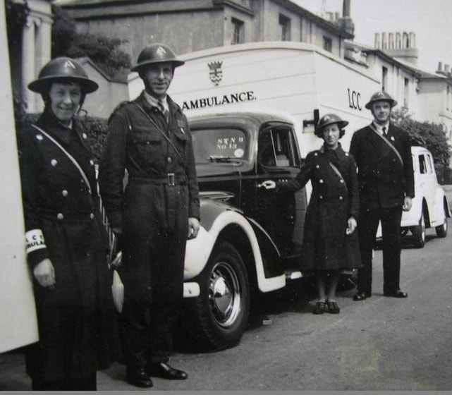 WW2 Civil Defence LCC (London County Council) Ambulance Crews & Vehicles