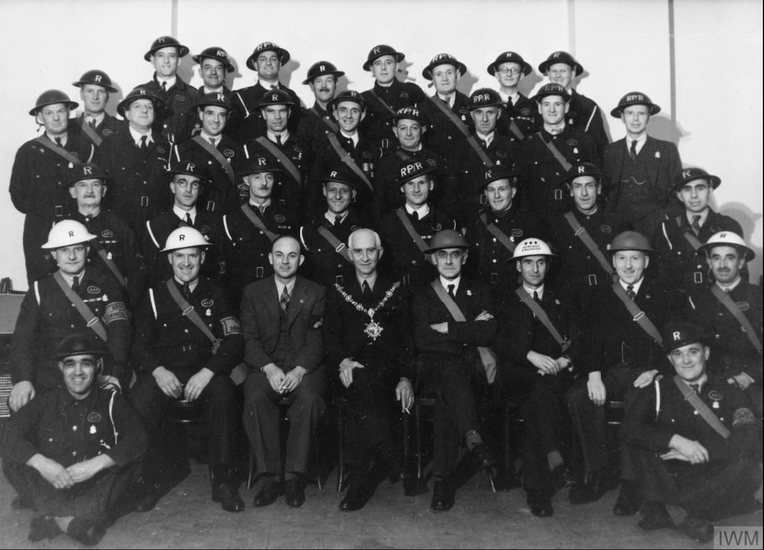 WW2 ARP Rescue and Demolition Teams from Brigham, Middlesbrough and Bridlington (IWM © HU 66003)