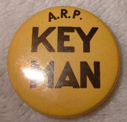Celluloid A.R.P. Key Man Pin Button Badge.