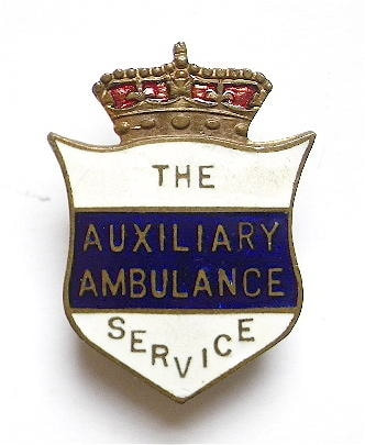 Shield-shaped London Auxiliary Ambulance Service (LAAS) Enamel Badge