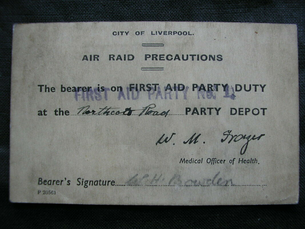 WW2 City of Liverpool ARP First Aid Party ID Card