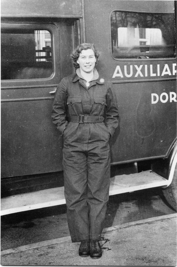 Miss Honorine Williamson from Dorking in her ARP overalls.