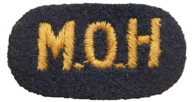 WW2 Civil Defence Embroidered MoH (ARP Pattern 129) - Ministry of Health shoulder title.